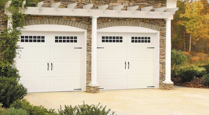 Bead Board With Stockton Windows, Blue Ridge Handles, Strap Hinges, White.  ; . Garage Door ...