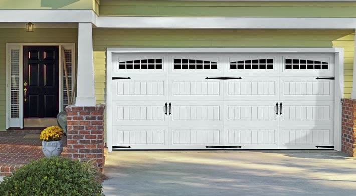 Garage Door Bead Board With Wagonwheel Windows Blue
