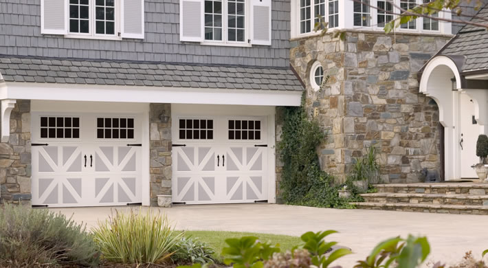 Garage door santiago with madeira windows blue ridge handles