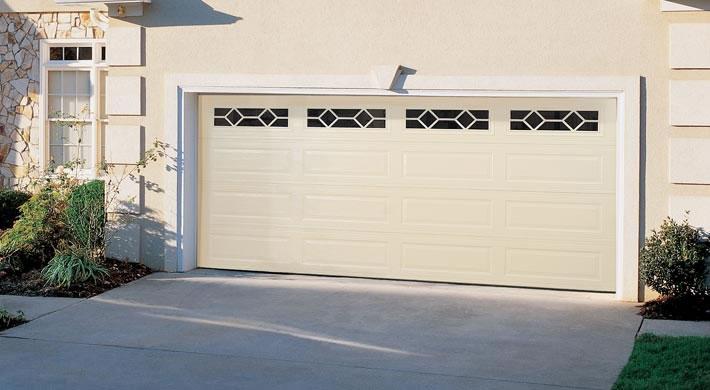 almond garage doorGarage Door  Traditional Long Panel with Waterford Windows