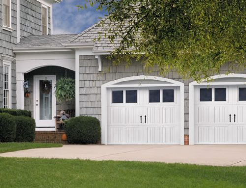 Garage Door – Tuscany with Nile Windows, Blue Ridge Handles, White