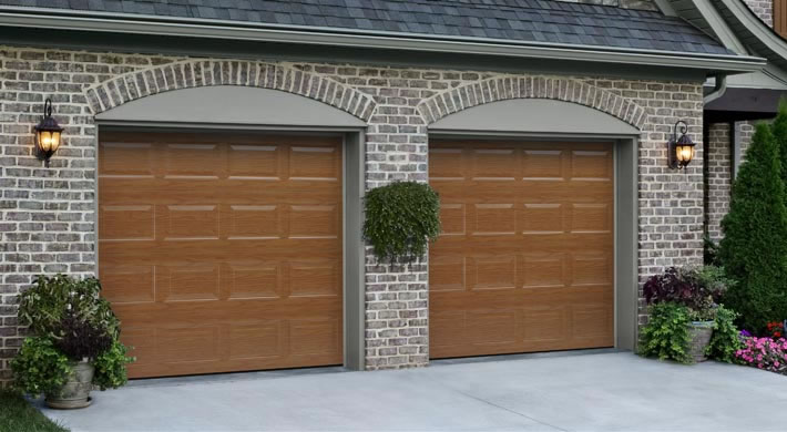 Garage Door Traditional Long Panel With Waterford Windows Almond