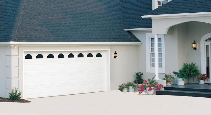 Garage Door Traditional Short Panel With Cathedral Windows White