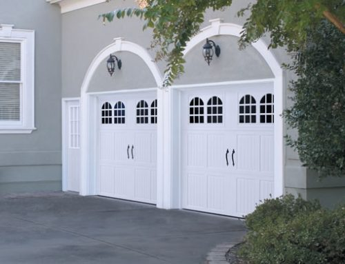 Garage Door – Tuscany with Rhine Windows, Blue Ridge Handles, White